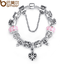 Bamoer Luxury Christmas Series European Beads Bracelet for Women with Fashion Desgin Oxidation Heart Charms  PA1826