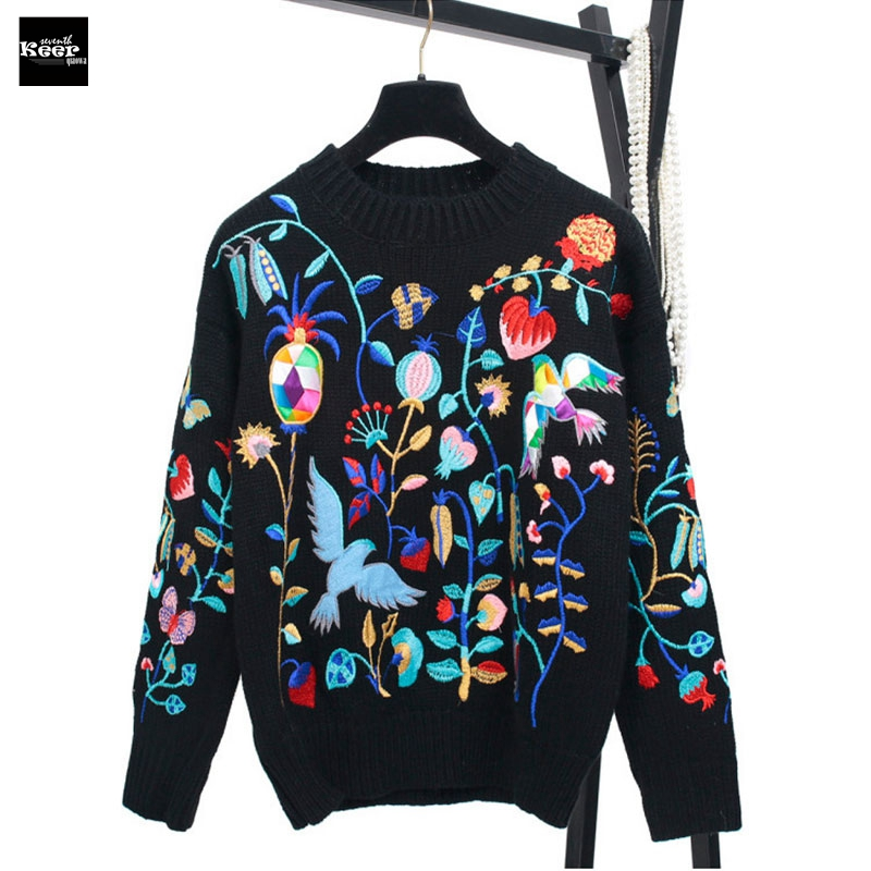 2018 Autumn New Sweater Female Pullovers Embroidery Floral Contrast Color Knitted Sweaters Pullover Runway Designer Tops Jumper