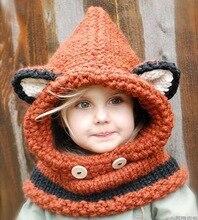 Belle Mode renard chat oreille d'hiver coupe-vent chapeaux et écharpe ensemble pour enfants crochet coiffures doux chapeau chaud bébé d'hiver bonnets enfants