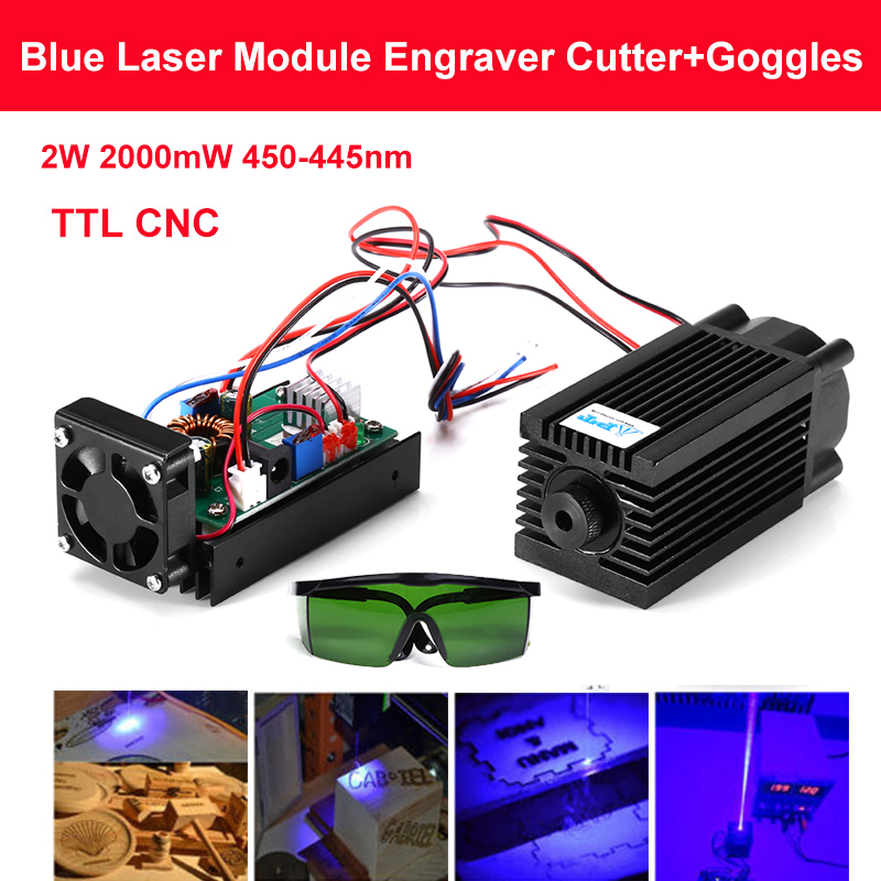 High Power Diode Laser Focusable Blue Laser Module 2W 2000mW 450/445nm With TTL Driver
