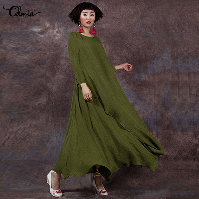 S-5XL Celmia 2018 Autumn Brand Women Boho Dress Vintage Long Sleeve Solid Casual Loose Long Maxi Dresses Vestido Mujer Plus Size