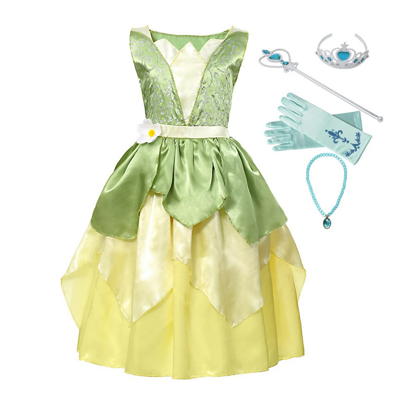 Carnival Tiana Dress Up Dresses Girl Princess Role Playing Party Costume Children Sleeveless Frock The Princess And The Frog