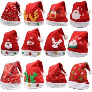 Image 1 - Weihnachten Ornamente Dekoration Weihnachten Hüte Santa Hüte Kinder Frauen Männer Jungen Mädchen Kappe Für Weihnachten Party Requisiten S5010