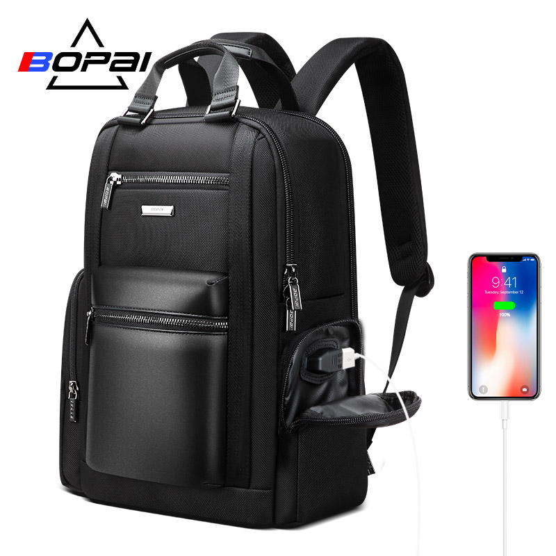 BOPAI New Back Pack Bags Men Multifunctional Business Travel Backpack Men 90 Degree Free Open 15.6 Inch Computer Laptop Backpack-in Backpacks from Luggage & Bags    1
