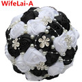 Luxury Bling Black White Jewelry Wedding/Bridesmaid Bouquets Artificial Flowers de mariage ramo de la boda Wedding Bouquets W224