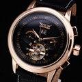 2016 Novos Homens Relógios Esqueleto Relógio Turbilhão Mecânico Automático Dos Homens de Negócios de Luxo Da Moda Pulseira de Couro Relógio De Pulso De Ouro