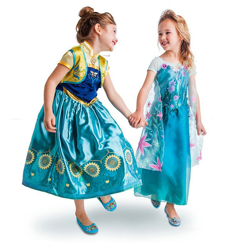 2017 New Kids Anna Elsa Dresses For Girls Princess Dresses Children Party Costume Snow Queen Elsa Dress Halloween Xmas Clothing elsa dress sparkling snow queen elsa princess girl party tutu dress cosplay anna elsa costume flower baby girls birthday dresses