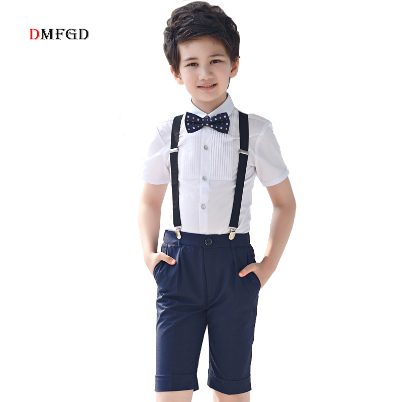 High quality childs clothes sets boys summer tops cotton shirts black suspender trousers kid party dress for boys children suits