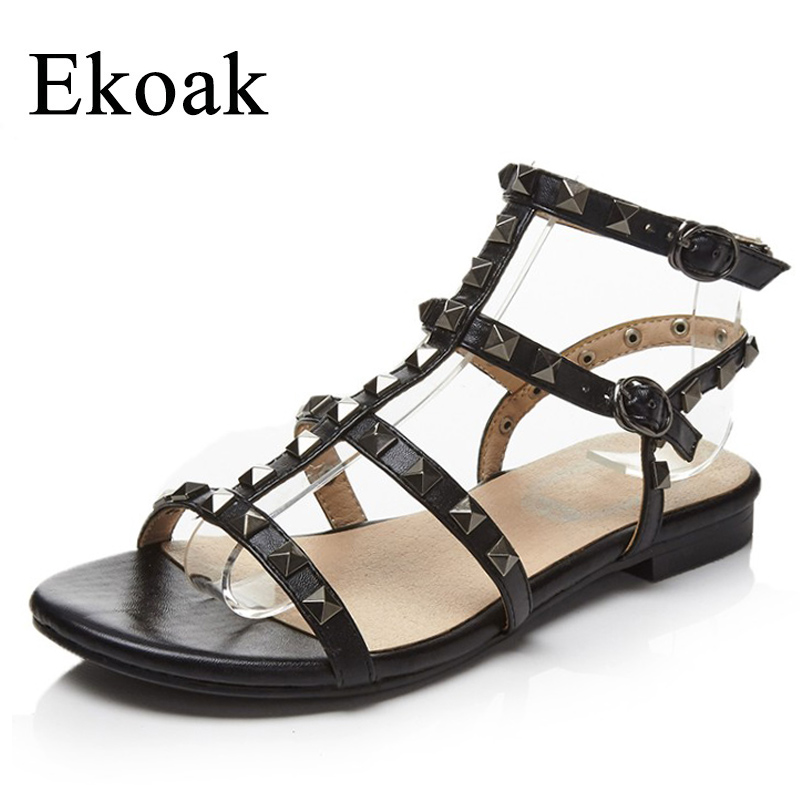 Ekoak Summer Shoes Woman Genuine Leather Women Gladiator Sandals Fashion Rivets Women Sandals Casual Flat Beach Shoes Woman choudory bohemia women genuine leather summer sandals casual platform wedge shoes woman fringed gladiator sandal creepers wedges