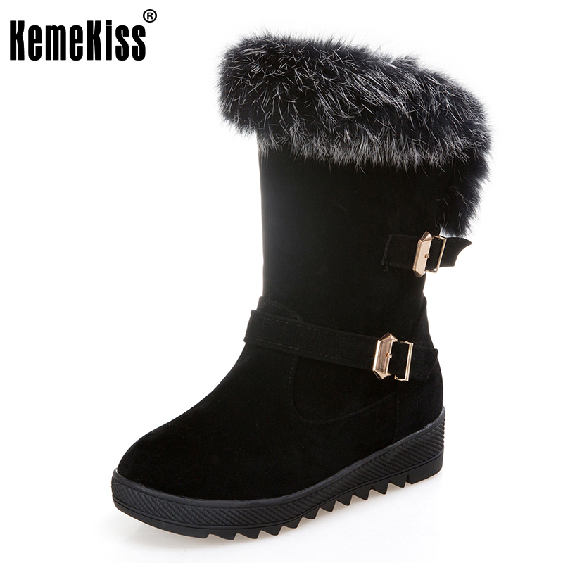 KemeKiss Size 34-43 Winter Warm Fur Inside Mid Calf Snow Boots For Women Metal Buckle Thick Platform Half Short Flat Botas zippers double buckle platform mid calf boots