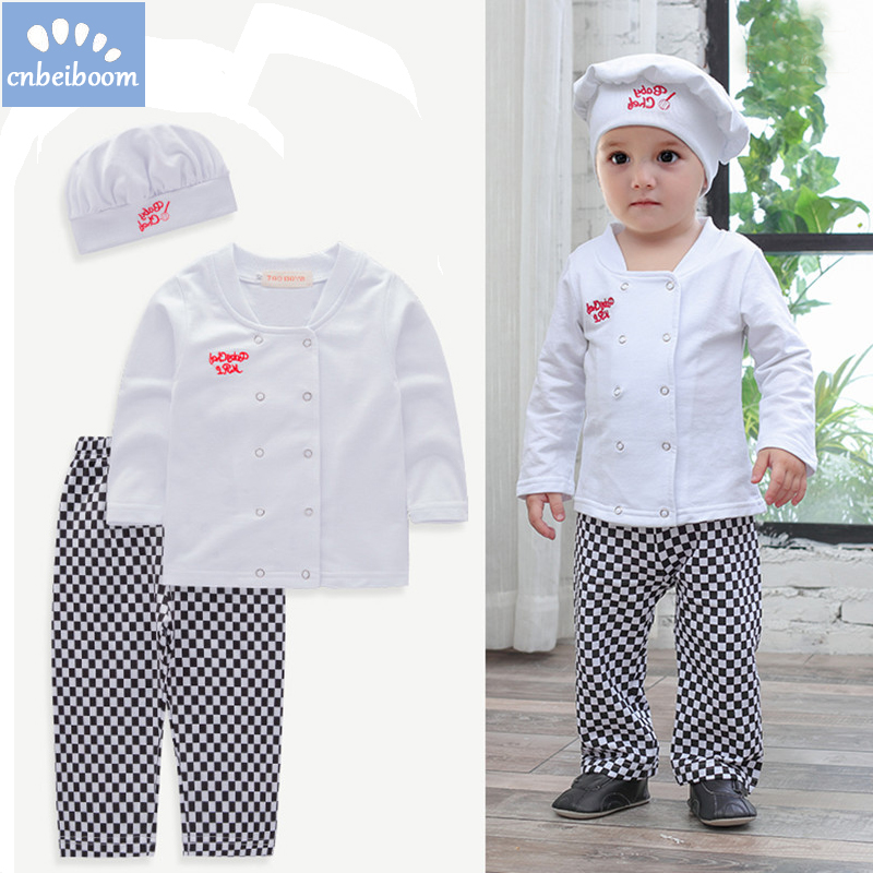 Baby boys sets chef play suit cotton white shirt+plaid pants+hat long sleeves toddler kids clothes outfit kids party costume classic plaid pattern shirt collar long sleeves slimming colorful shirt for men