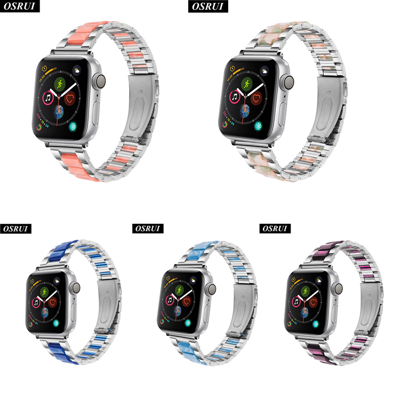 Fashion Strap for Apple watch band 42mm 38mm Stainless steel watchband correa 44mm 40mm link bracelet iwatch 4 3 2 1 Accessories in Watchbands from Watches
