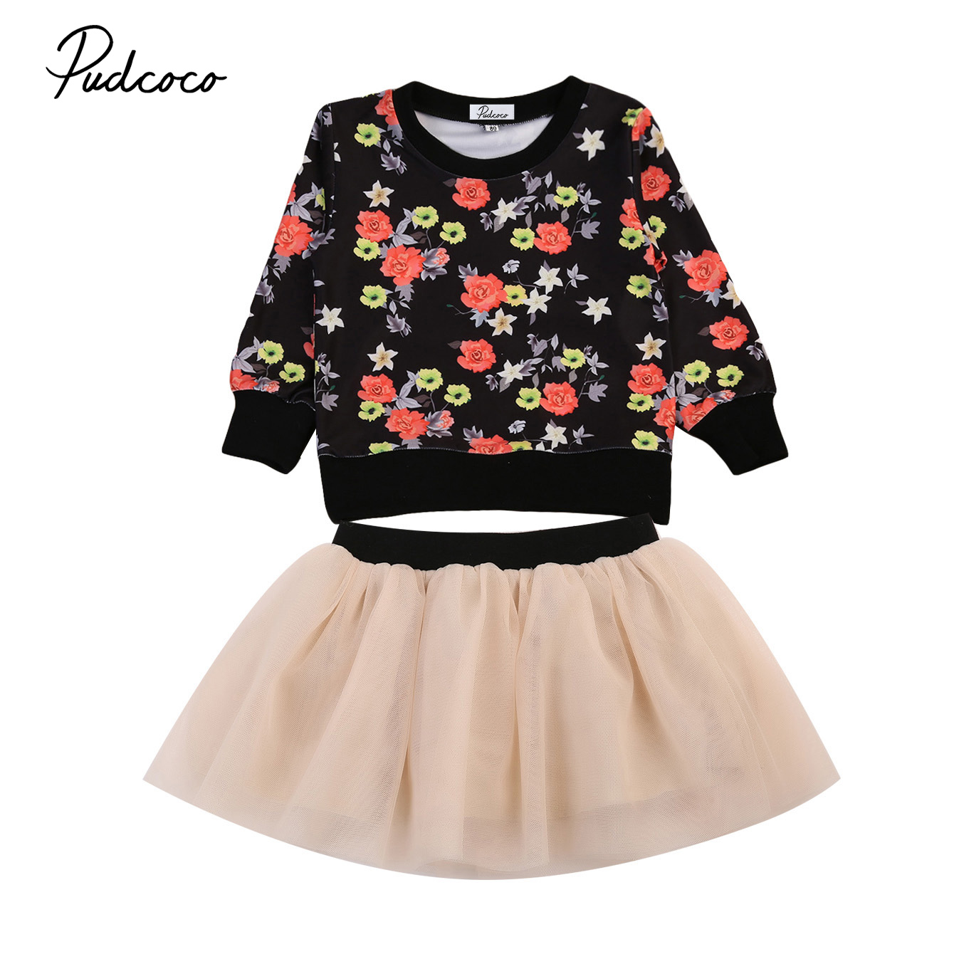 2017 New Brand Toddler Infant Child 2pcs Kids Baby Girl Floral Sweater Tops Long Sleeve T-Shirt  Skirt Tulle Set Lovely Clothes 2pcs children outfit clothes kids baby girl off shoulder cotton ruffled sleeve tops striped t shirt blue denim jeans sunsuit set