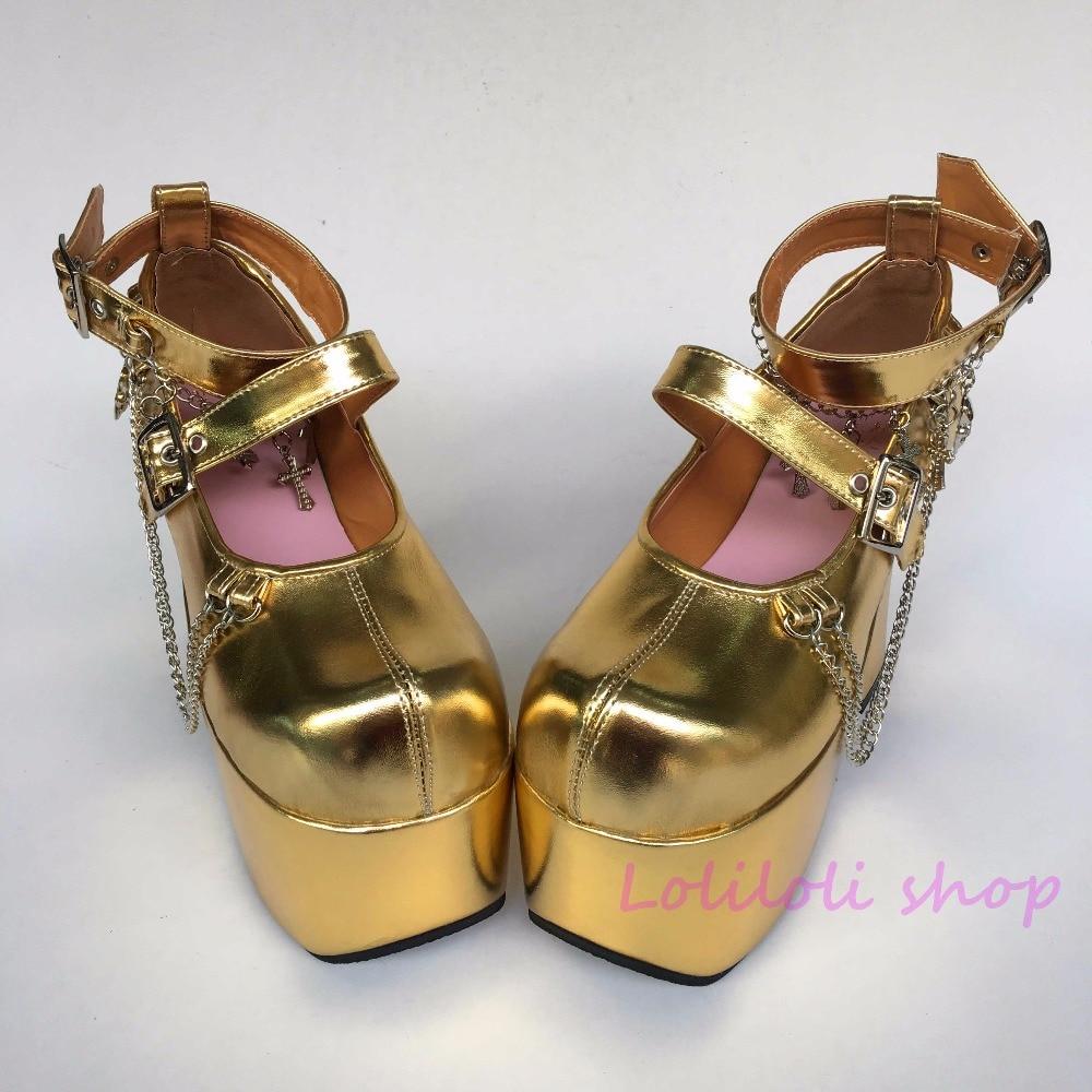 Japonés Forma Arco Alto De Personalizado Lolita Hebilla Diseño Sandalias Punk Oro Zapatos 1f73x En Multiple Especial Princesa Tacón qXPH1z