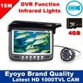 Eyoyo Original 15 M Debaixo D' Água 1000TVL Câmera De Gravação De Vídeo DVR Inventor Dos Peixes de Pesca No Gelo 8 LED infravermelho Sunvisor + 4G Cartão TF