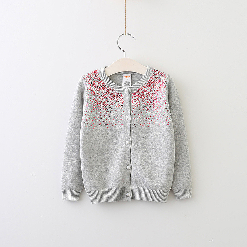 Everweekend Girls Sequins Button Cardigan Sweet Children Candy ...