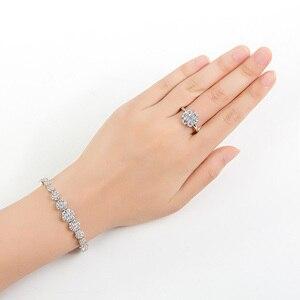 Image 5 - Hadiyana פשוט עגול נשים תכשיטי סט עם מעוקב Zincons שרשרת עגילי צמיד טבעת 4pcs שושבינה חתונה סטי TZ8032