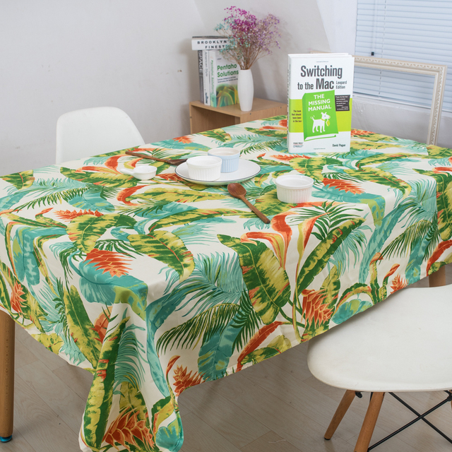 Green Plant Tropical Rainforests Table Cloth Rectangle Printed Table Covers  Dustproof Thick Tablecloths For Wedding Home