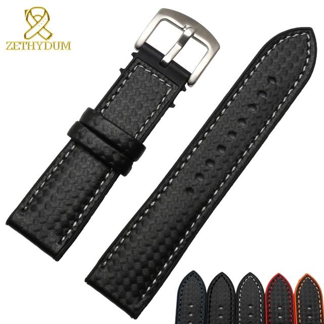 Carbon Fiber Watchband 18/20/22/24mm bottom is  waterproof silicone watch strap stitched bracelet Watch accessories