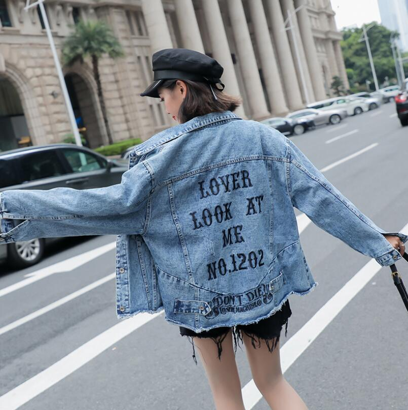 Denim Jacket Women 2019 Spring Autumn streetwear Bf Style Jeans coat Loose Letters basic Jacket r670