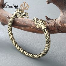 QIMING Handmade Top Quality Pagan Viking Dragon Bracelets Bangles for Man and Women Cuff Bangle Gifts Vintage Bangle(Hong Kong,China)