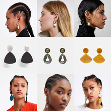 Girlgo 2019 New Za Resin Drop Earrings For Women Bridal Jewelry Ethnic Statement Dangle Earring Girl Female Party Gift Jewelry(China)