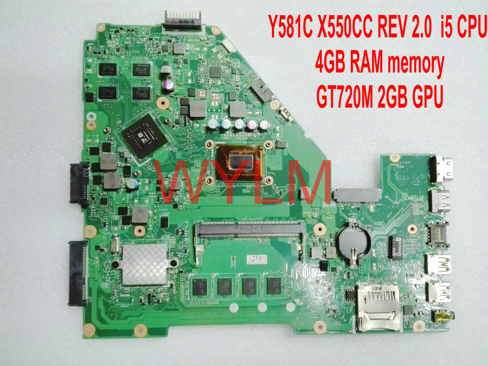X550CC i5 CPU 4GB RAM GT720M 2G N14M-GE-S-A2 mainboard For ASUS Y581C X550C X550CC Laptop motherboard HM76 DDR3 100%fully tested free shipping 687 full zro2 ceramic deep groove ball bearing 7x14x3 5mm good quality p5 abec5
