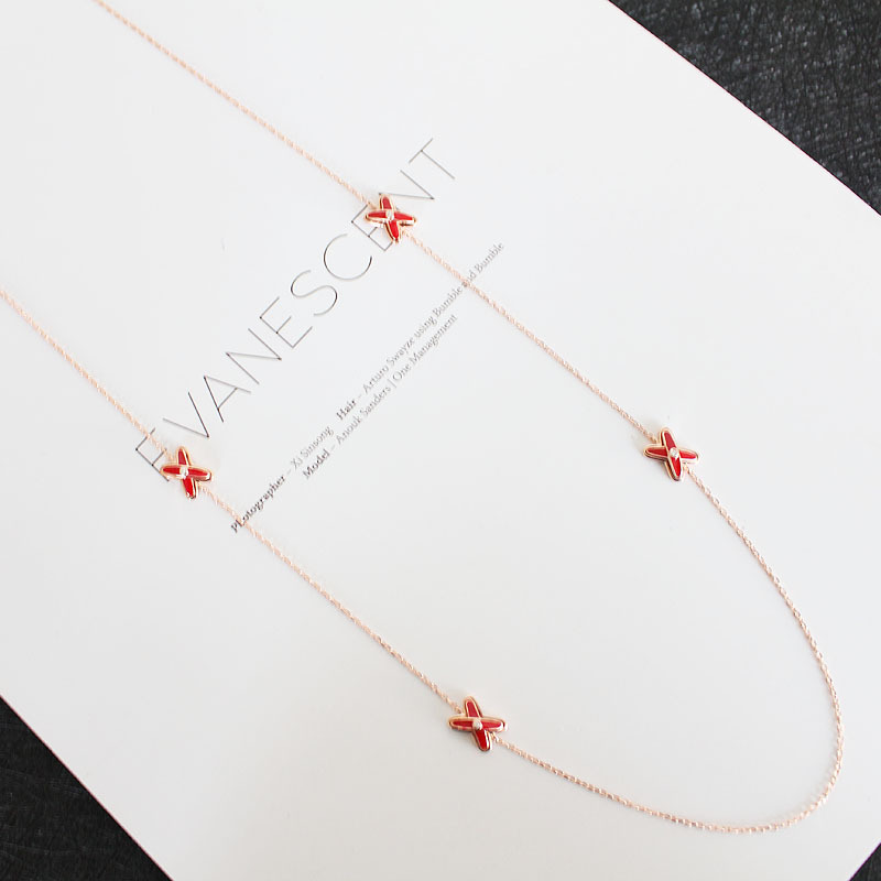 Luxury brand jewelry women s necklace S925 sterling silver red enamel burnt green fringed cross sweater