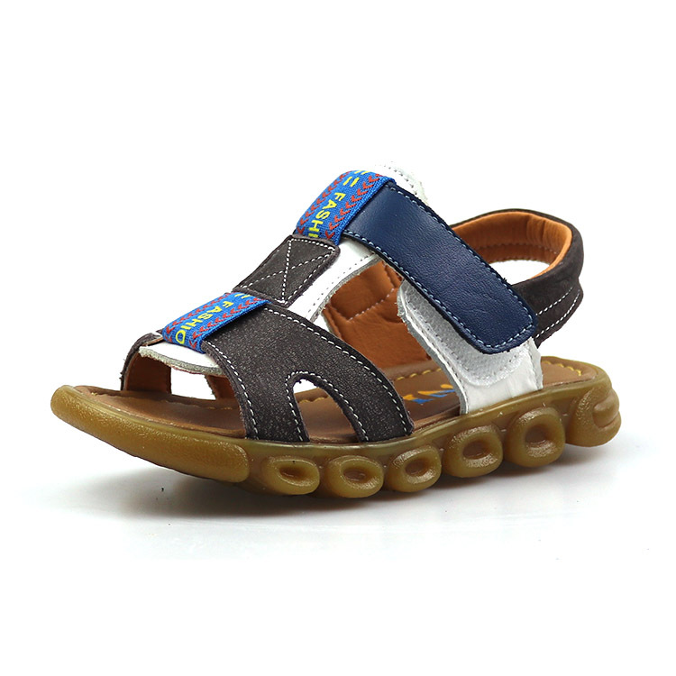 age 1-13 Genuine leather Casual kids sandals 2018 summer mix color boys beach shoes Flat little gladiator sandals hook & loop