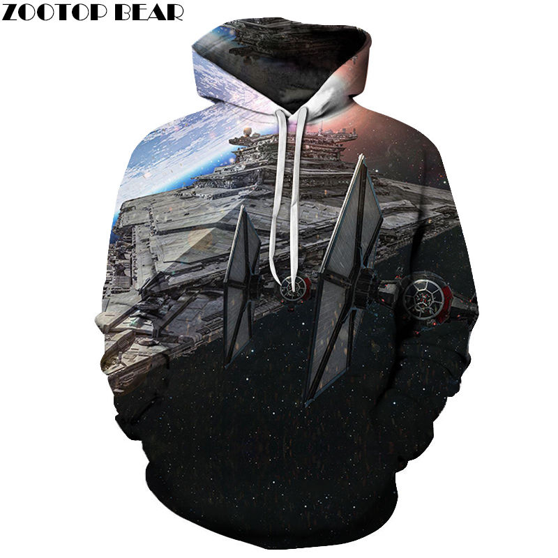 2019 Newest Long Sleeve 3D Hoodies Cotton Brand Sweatshirts Male Star Wars Men Pullover Casual Tracksuits Drop Ship ZOOTOP BEAR