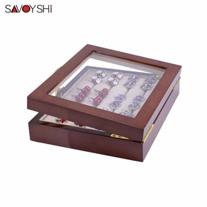 Image 3 - Glass Cufflinks Box for Men High Quality Painted Wooden Collection Display Box Storage 12pairs Capacity Rings Jewelry Box