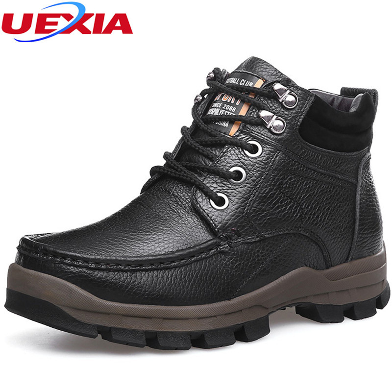Winter Safety Work Boots Non-slip Snow Boots Men Black Casual Walking Cotton Men Shoes Fur Lining Warm Non-slip Hard-weraring france tigergrip waterproof work safety shoes woman and man soft sole rubber kitchen sea food shop non slip chef shoes cover