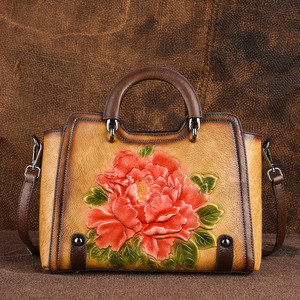 Image 4 - Johnature 2020 New Retro Cowhide Embossed Large Capacity Women Handbag Genuine Leather Floral Casual Shoulder&Crossbody Bags