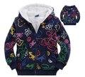2016 Nuevos Niños de Invierno Gruesa Chaqueta de lana bebé niños niñas de dibujos animados con capucha escudo niños prendas de abrigo ropa de abrigo