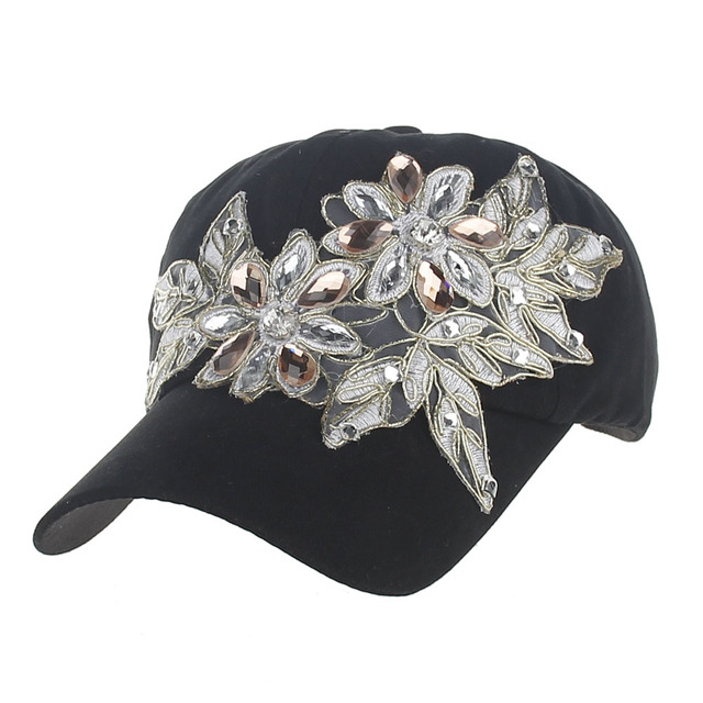 fb2a9598d US $4.46 25% OFF|New Spring Summer Embroidery Casual Hats Women baseball  Hats Girls Diamond Flower Baseball caps Lady Rhinestone Jean Hats -in ...