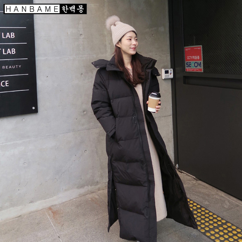 Women Hooded   Down   jacket black navy blue Long Thick section Large size winter   coat