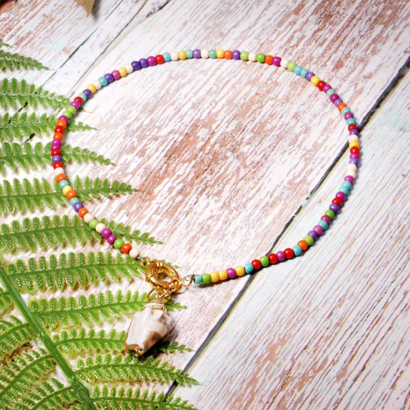 MOON GIRL Colorful Seed Beads Bohemian Choker Natural Cowrie Shell Collier Femme Boho Trendy Chic Necklace Women Dropshipping