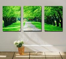 3PC Asian Modern Hand-Painted Art Oil Painting Canvas:Green Tree(No Frame)