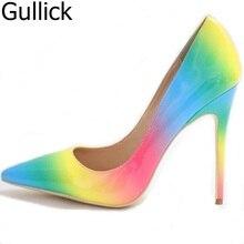 12210064ef Foto Real Mulheres Rainbow Cor Apontou Toe Deslizamento Em Bombas Rasos  Verão Moda Sapatos de Salto Alto Fino Vestido Frete Grát..