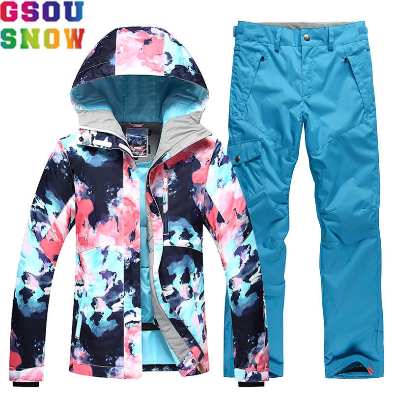 GSOU SNOW Ski Suit Women Skiing Jacket Snowboarding Pants Waterproof Cheap Skiing Suit Winter Outdoor Sport Clothing 2018 Coat gsou snow waterproof ski jacket women snowboard jacket winter cheap ski suit outdoor skiing snowboarding camping sport clothing