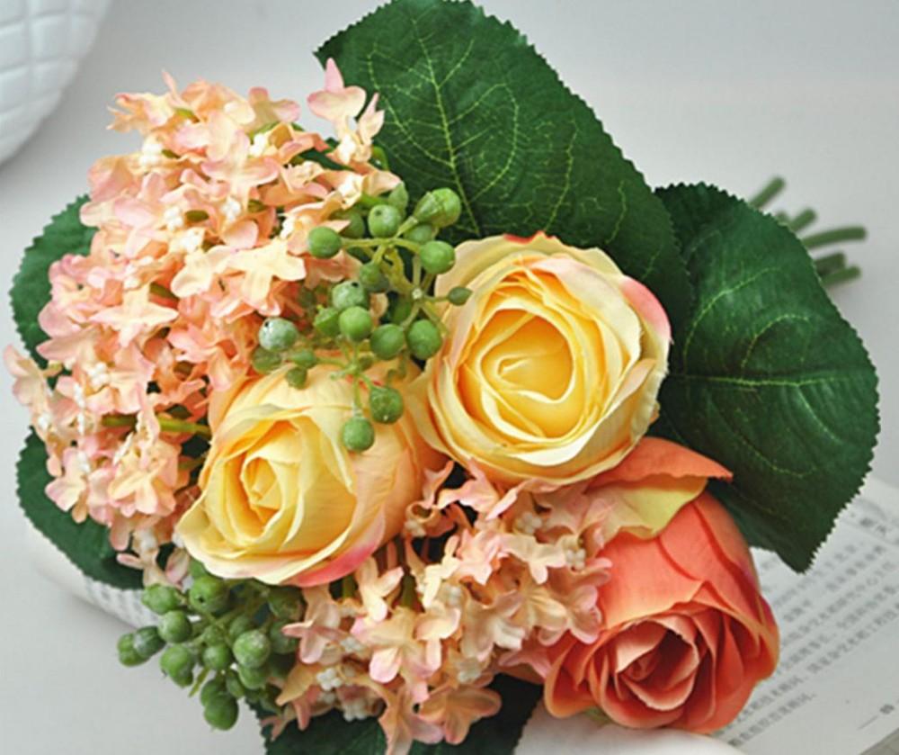 Wholesale Price 2 Pclot Wedding Bouquets Silk Flowers Artificial