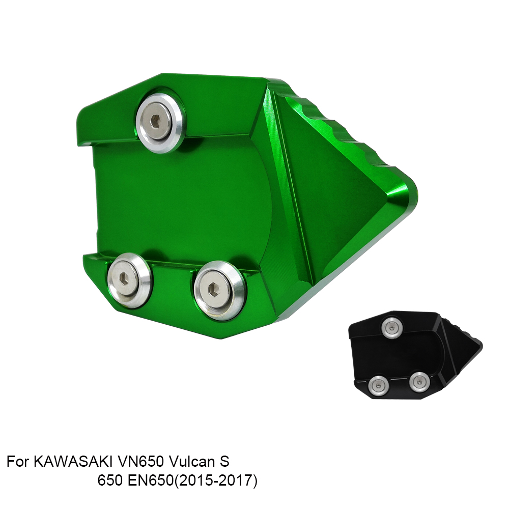 Green Motorcycle Side Stand Kickstand Support Plate Foot Pads For 2015-2017 KAWASAKI VN650 Vulcan S 650 EN650 2016