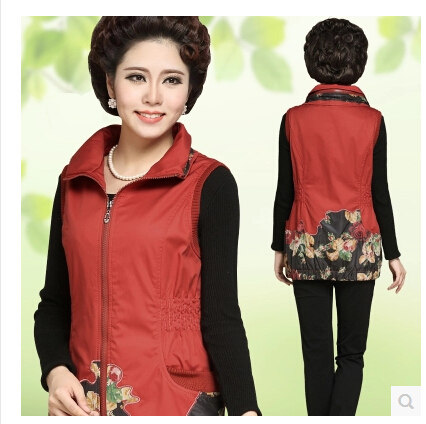 Spring Mothers red  Black Cotton  Vest Coat Middle Aged Women Plus Sized Sleeveless Jackets Vintage Style Waistcoat