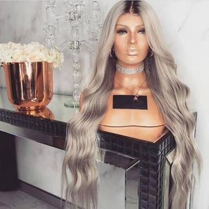 Image 3 - Anogol longue vague profonde synthétique gris dentelle avant perruque avec bébé cheveux résistant à la chaleur perruque 180% densité Ombre perruques pour les femmes noires
