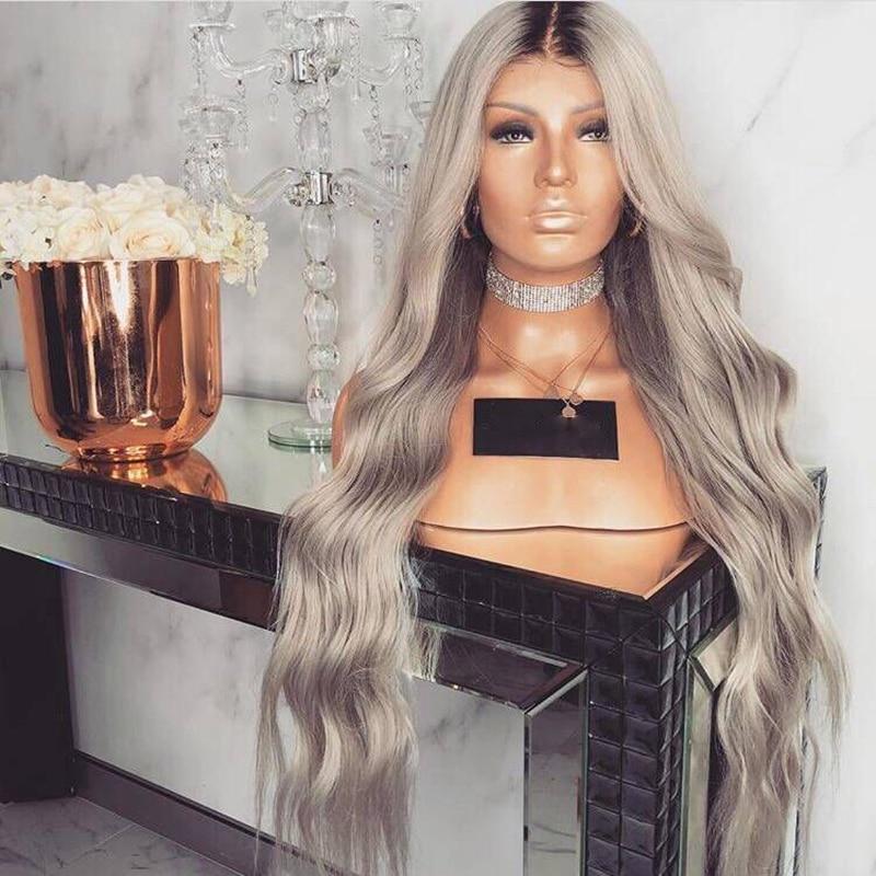 Image 3 - Peruca resistente ao calor do laço do cinza sintético da onda  longa de anogol peruca dianteira do laço com cabelo do bebê 180%  densidade ombre perucas para pretoPeruca sintética