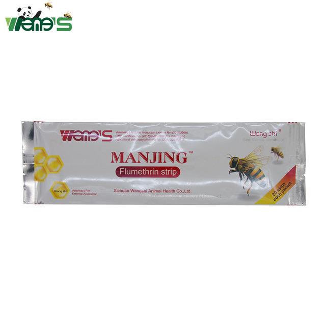 Wangshi Manjing 20 Strips Flumethrin Strips Bee Varroa Mite Killer & Control Beekeeping Farm Medicines Supplies