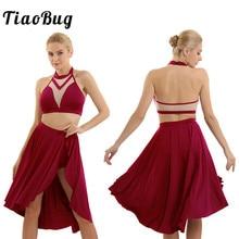 TiaoBug Halter bluzki bez rękawów asymetryczna łacińska spódnica do tańca baletowa spódniczka tutu kobiety współczesne kostiumy do tańca lirycznego zestaw