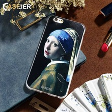 CASEIER Pearl Earring Girl Patterned Case For iPhone 5 5s SE Ultra Thin Cover For iPhone 6 6s 7 8 Plus 5 5s Luxury Phone Fundas пластиковая накладка ultra thin air series для iphone 5 5s se пленка белый smooth white sgp09505