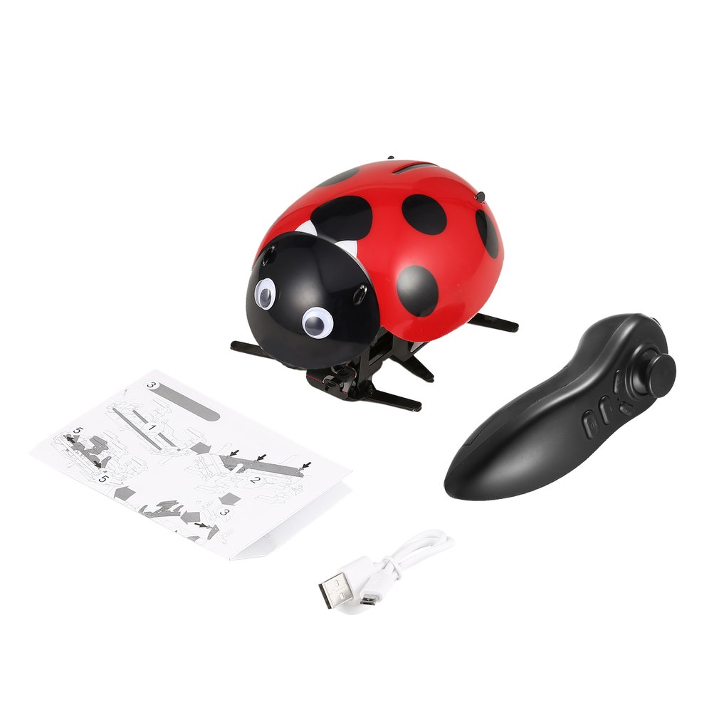 Haustierbedarf Katzen Remote Control Simulate Ladybug Electronic Toy DIY Children Gift Novelty Toy bm