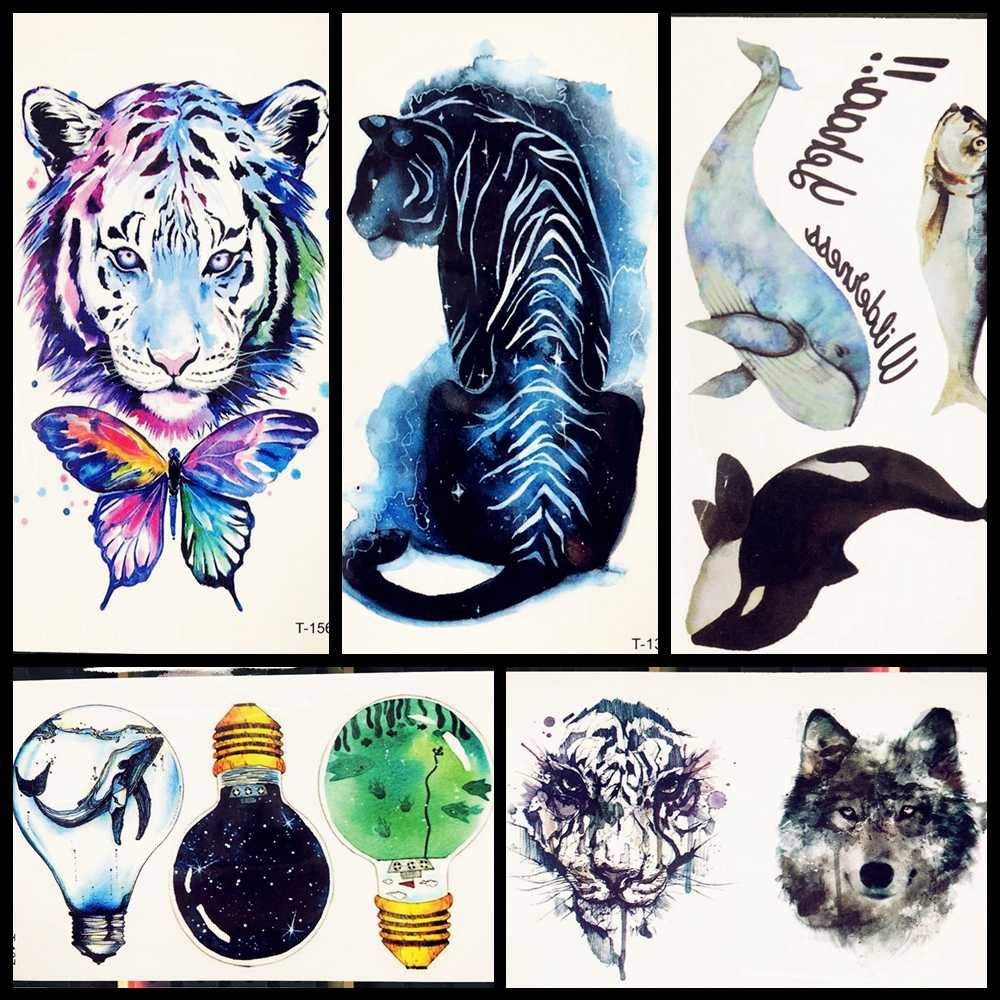 3D Temporary Tattoo Animal Blue Tiger Butterfly Whale For Boy Girl Children Cartoon Tattoo Sticker Kids Watercolor Tatto Arm Art
